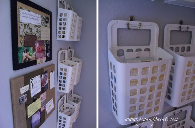 Baskets from Ikea on towel hooks to organize papers. Easily lift the basket off the hook when needed.