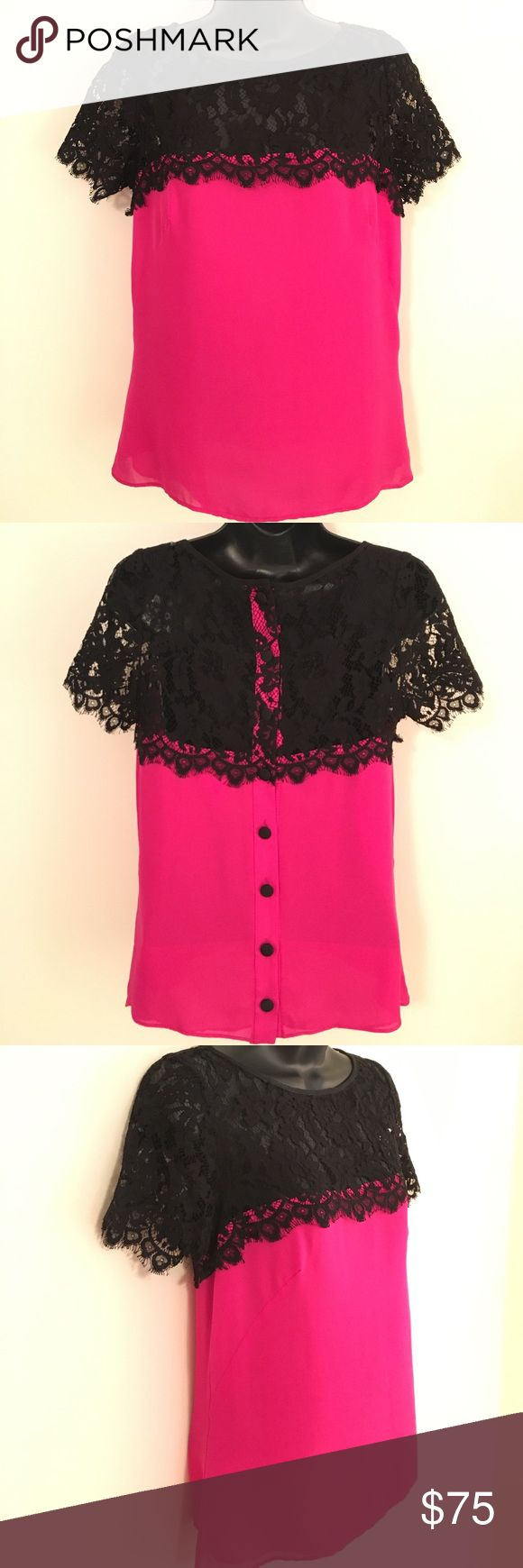 🌟MARK DOWN🌟 Milly Lace Blouse 🎀 Gorgeous Milly Hot Pink Blouse with Black Lace Detail. Black Covered Buttons Down the Back of the Blouse. 100% Silk. In Excellent Condition, LIKE NEW! Price is Negotiable! Milly Tops Blouses