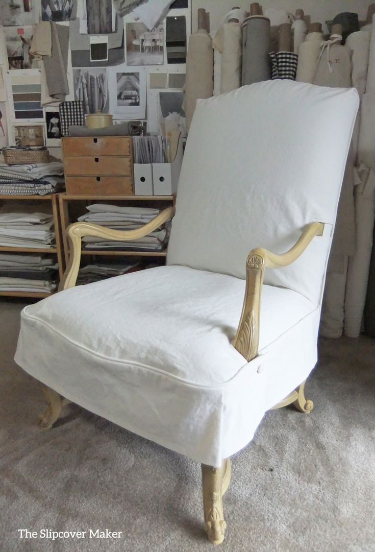 This Formal Dining Chair Got A Casual Slipcover Makeover With Washed Cotton Poly Canvas In