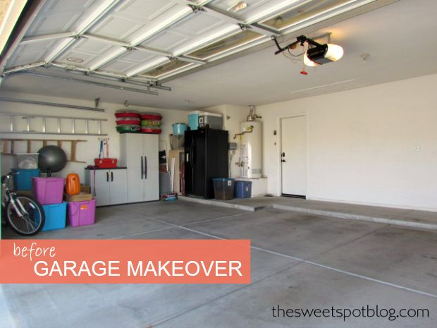 'Before' Garage Makeover by The Sweet Spot Blog #sellhouse #diy #homedecor #makeover #garage #organization #staging