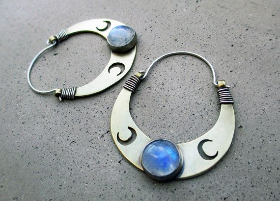 Triple Lunar Goddess Hoop Earrings, Crescent Moon, Blue Moonstone, Goddess Artemis, Goddess Diane, Goddess Bast on Etsy, $159.00