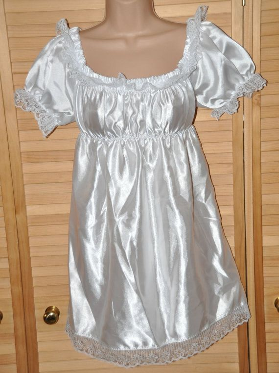 Baby snow white little silky satin sissy dress by DeesUKDelights