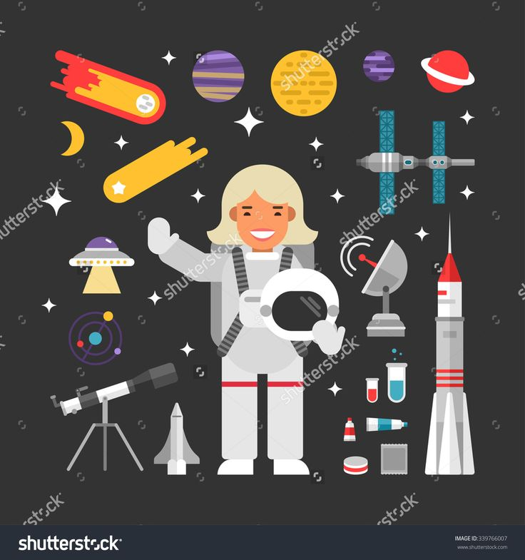 Set of Vector Icons and Illustrations in Flat Design Style. Female Cartoon Character Astronaut Surrounded by Planets, Rockets and Stars