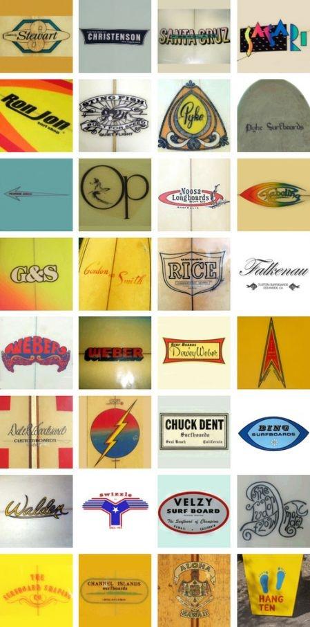 surf logos: Retro Logos, Vintage Surfing, Surfing Boards, Design Handbags, Antiques Framesidea, Surfing Logos, Surfboard Logos, Boards Logos, Logos Food