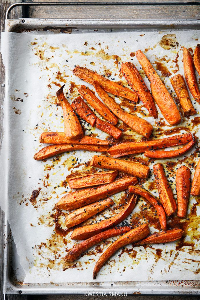 Roasted carrots with peanut butter