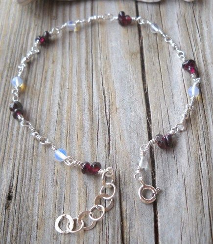 925 Sterling Silver Garnet,Moonstone Anklet  | pavlos - Jewelry on ArtFire