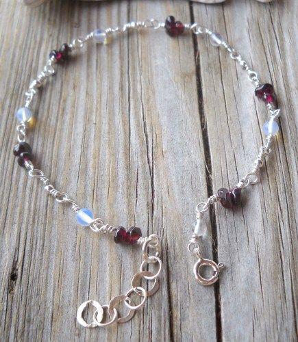 925 Sterling Silver Garnet,Moonstone Anklet  | pavlos - Jewelry on ArtFire