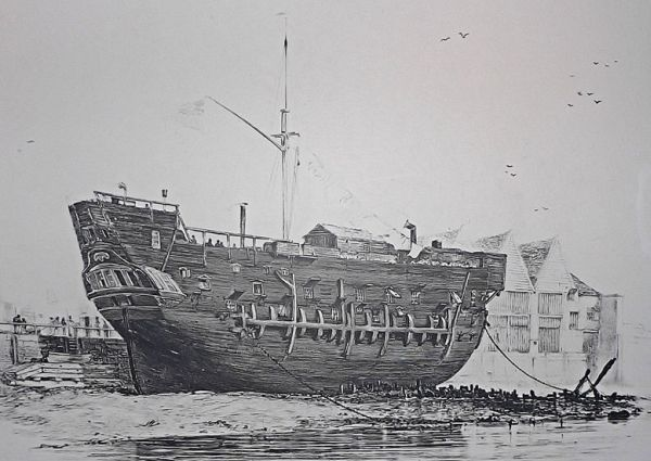 "known as prison ships or ""prison hulks"", these decomissioned vessels were used by britain during the 18th and 19th centuries to house prisoners of war..."