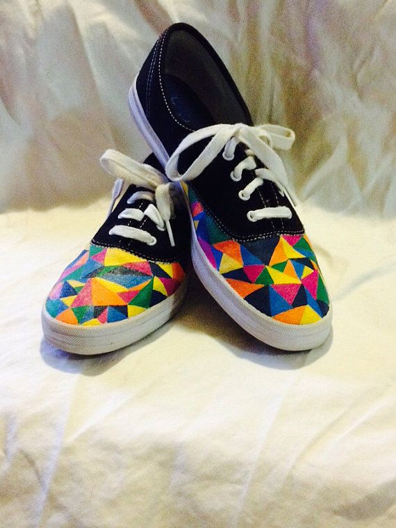 SALE! Geometric Pattern Custom Keds or Vans Triangle Rainbow Multi-Color Painted Keds Shoes on Etsy, $98.00