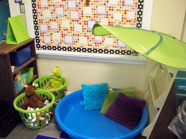 Reading Lagoon. Soft cushions and stuffed animals enhance the reading environment.