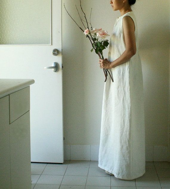 LINEN WEDDING DRESS / long / vanilla / white / women / linen dress / spring / summer / maxi / australia / handmade / pamelatang