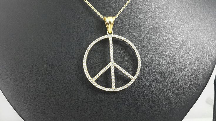 14K yellow gold peace pendant necklace AAAAA grade cubic zirconia by IsaBellaJewellery on Etsy