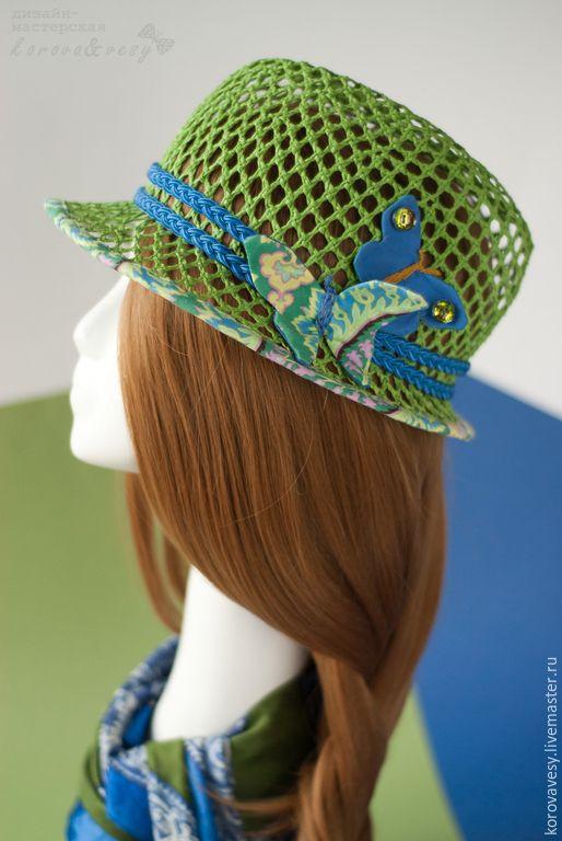 """Купить Соломенная федора """"Бабочки в голове"""" - ярко-зелёный, шляпка, федора, соломенная шляпа"""