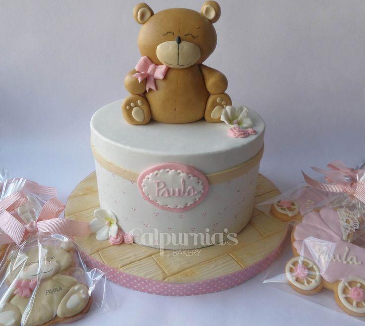 Baby girl cake teddy bear