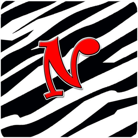 Set of 4 Monogram - Zebra Red Foam Coasters Initial Letter N