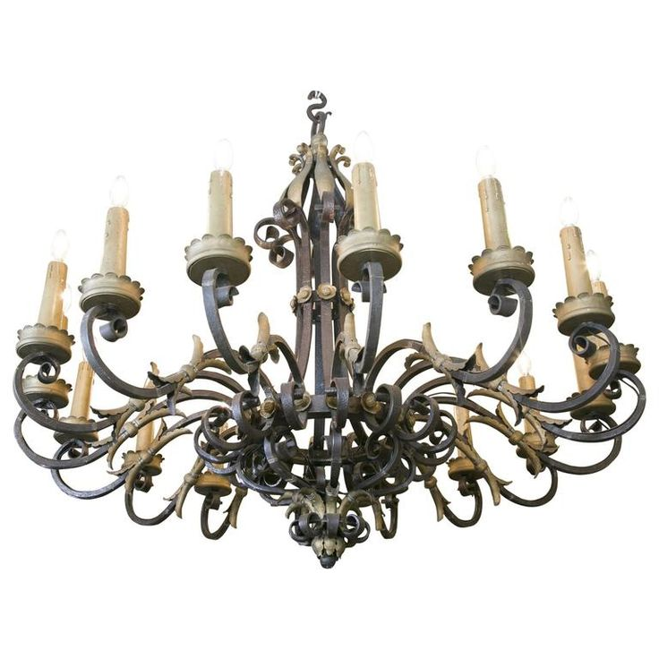 Large French Wrought Iron Sixteen-Branch Chandelier 1