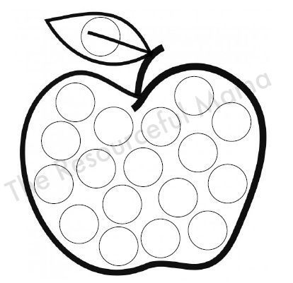 Apple dot painting dot marker printable dots dot for Do a dot art coloring pages