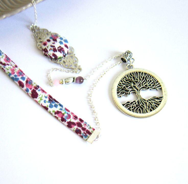 Sautoir arbre de vie argenté, rose et mauve, coton style liberty, chouette, perles de verre : Collier par color-life-bijoux
