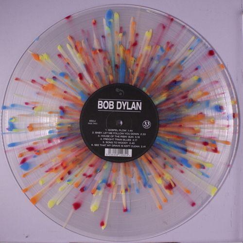"Clear, colorful ""splatter vinyl"" copy of Bob Dylan's self-titled album."