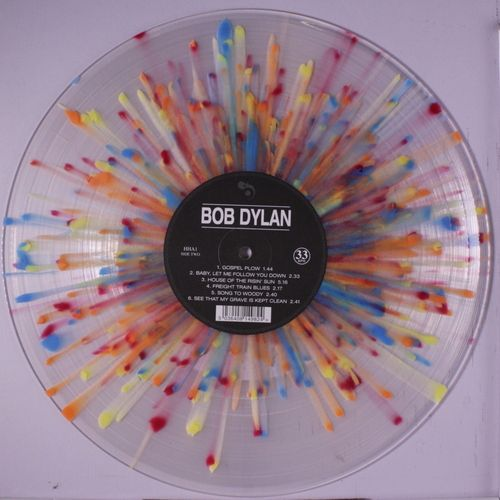 "Clear, colorful ""splatter vinyl"" copy of Bob Dylan's self-titled album."