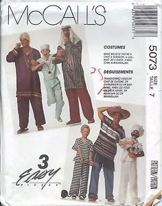 McCall's 5073 Chef Surgeon Maharajah Mexican HALLOWEEN COSTUME Pattern Child 7