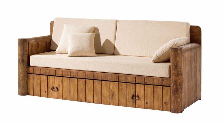 Sofa cama rustico con cojines http www - Camas con cojines ...