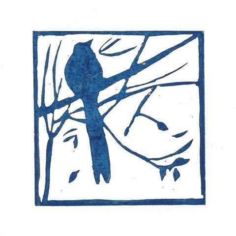 Mounted lino print 'Bird in the trees'. Hand by AngelaBrookensArt, $19.20