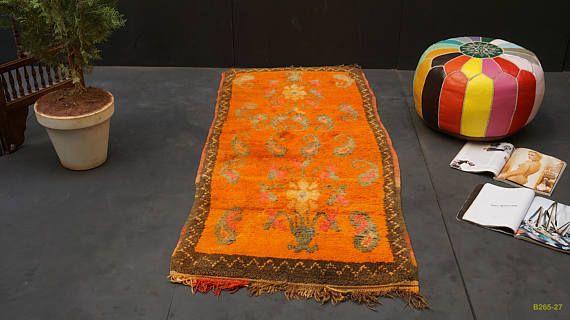 Orange small door rug 2x5 Vintage Berber Runner Azilal 100%