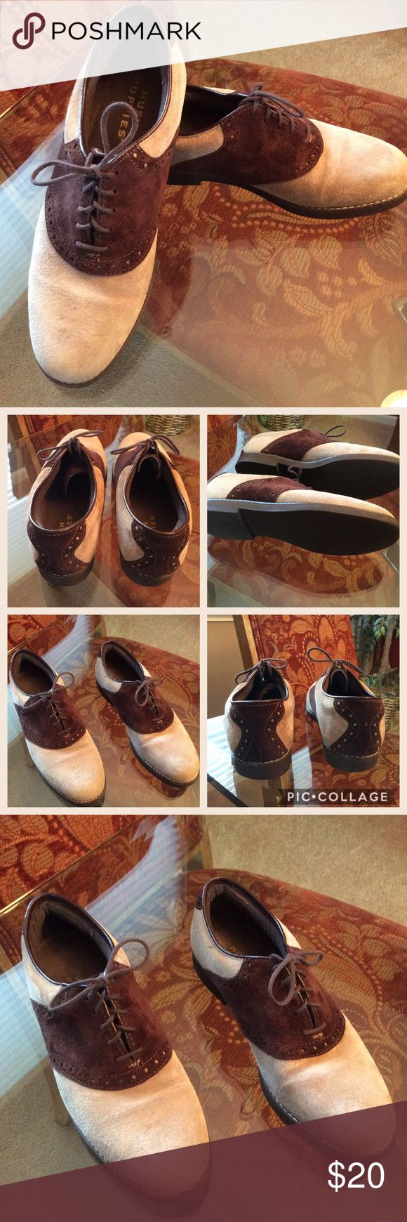 Suede Laced Oxfords Suede lace-up oxfords. Great condition. Minimal wear. Leather/Suede upper. Rubber sole. No box but will be packed with care. Hush Puppies Shoes Flats & Loafers