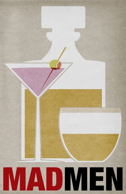 """Ah yes, any hour is cocktail hour with the crew of Mad Men. But then it was the era of the two martini lunch. A martini glass, a Dorothy Thorpe roly poly glass and a decanter """"distilled"""" to their essence in profile here."""