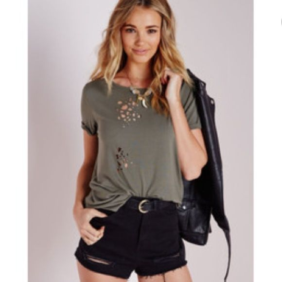 Khaki/Olive distressed shirt missguided Size xs but can fit xs-m. Missguided ripped shirt Missguided Tops