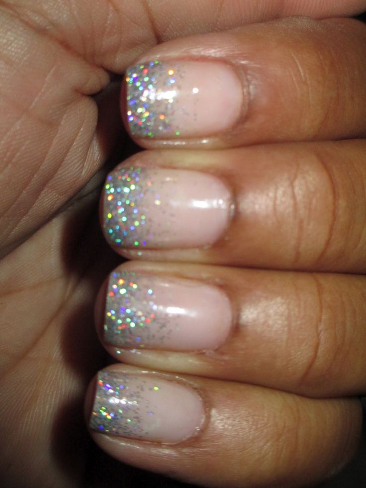 Frosted french manicure. I think it's adorable. A little too much pa-zazz? Reminds me of you wedding @Sara Skentelbery  Do you have sparkles? @Meghan MacDougall