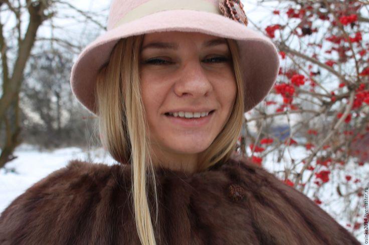 Купить Шляпка женская валяние шерсть - бледно-розовый, однотонный, шляпка, шляпа, купить шляпку