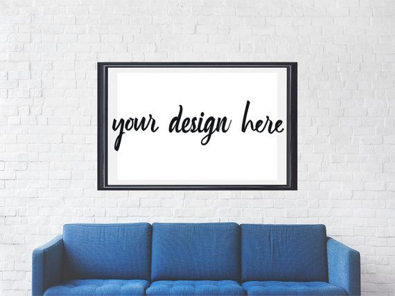 Poster Mockup | Above Couch Large Poster Frame Moc…