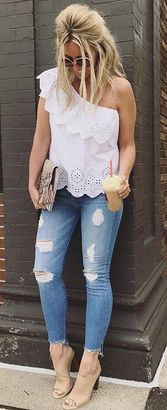 White One Shoulder Top + Ripped Skinny Jeans // Shop This Outfit In The Link#summer #outfits: