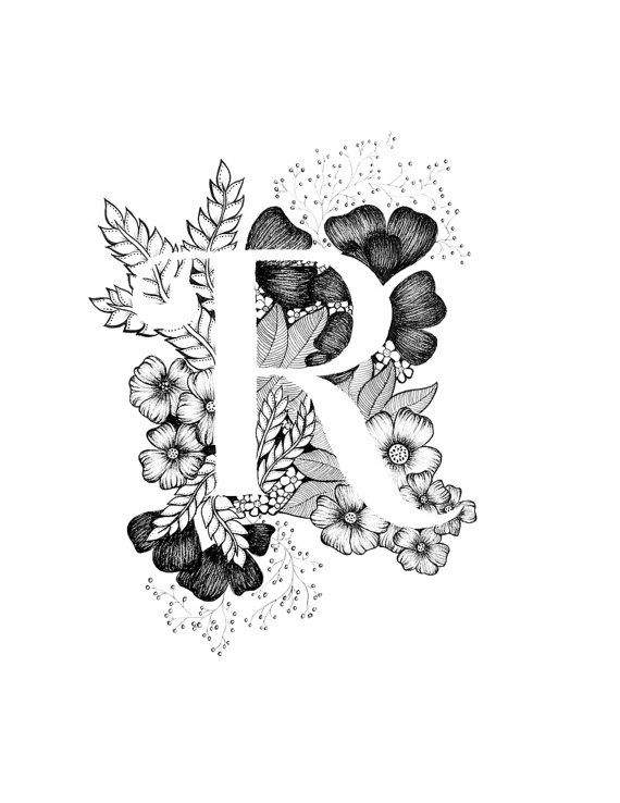 Letter R print - Alphabet, Calligraphy, Typography, Monogram, Flowers - Black and White ink art print