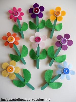 La classe della maestra Valentina: festa della mamma, mother´s day craft: clothes pins, felt and sticks