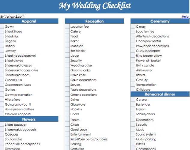 The  Best Wedding Checklist Template Ideas On