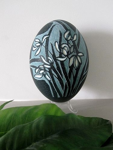 Carved emu egg--Orchid by Fei Zuo   Flickr - Photo Sharing!