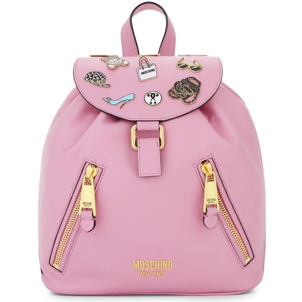 Moschino Badges leather backpack ($925) ❤ liked on Polyvore featuring bags, backpacks, moschino, leather rucksack, day pack backpack, moschino bags and leather daypack