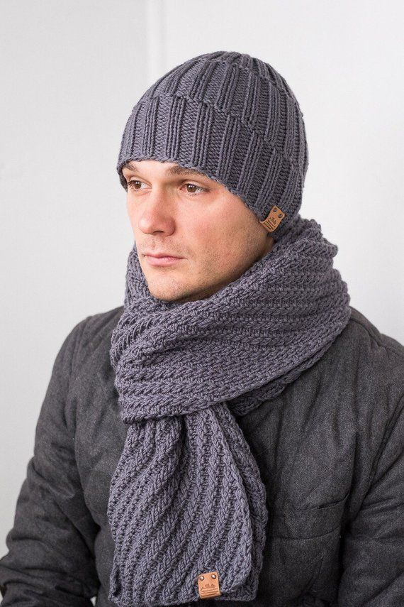 2be57d46e87 Men s Knit Winter Set   Wool Hat Scarf for Man   Grey Merino Hat Scarf   Knitted  Winter Men s Hat Sc