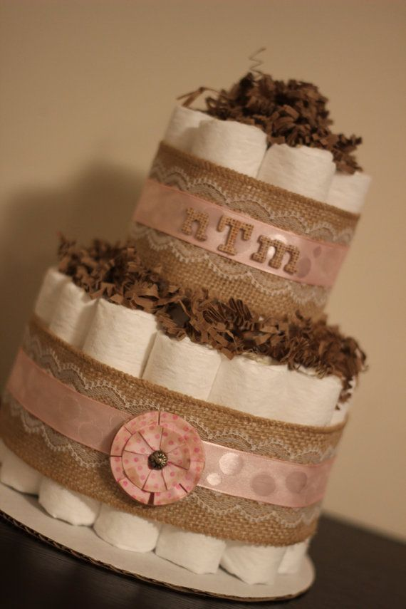 Mini 2 Tier Shabby Chic Diaper Cake, Burlap and Lace Diaper Cake, Shabby Chic Baby Shower, Rustic Baby Shower Decor Centerpiece
