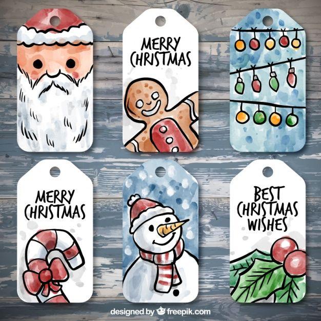 Coleção de etiquetas bonitos do Natal da aguarela Vetor grátis