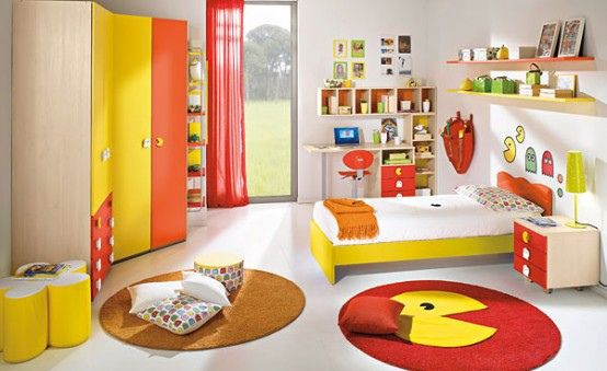 20 Awesome Bright Children Room Design Ideas With Yellow And Orange Wooden Closet Bed Wall Shelves