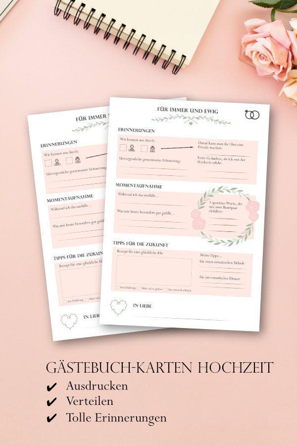 """Hochzeitsgästebuchkarten """"Forever and ever"""" mit Fragen zum Ausfüllen als PDF zum Selbstausdrucken   – Hochzeit Inspirationen"""