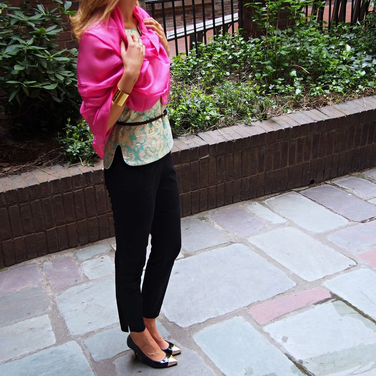 j. crew gilded gold turquoise teal pale brocade jacquard tunic top gold cuff bracelet black cropped theory pants skinny black belt essie pink red polish e-nuf e-nuf magenta silk tom and colette scarf gorjana rings chinese laundry gold toe capped heels jenna lyons broke creative director