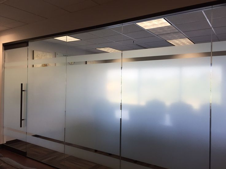 Need more privacy for your office or conference room but don't want to use blinds that can break and need dusting? Let us give you this full coverage frosted glass look like we did for this conference room. Privacy and class! #frostedglass #vinyl