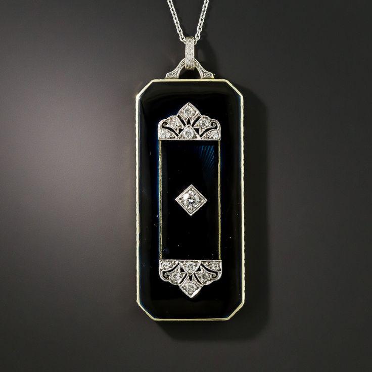 Art Deco Esmalte preto com pingente de diamante   – Art Deco