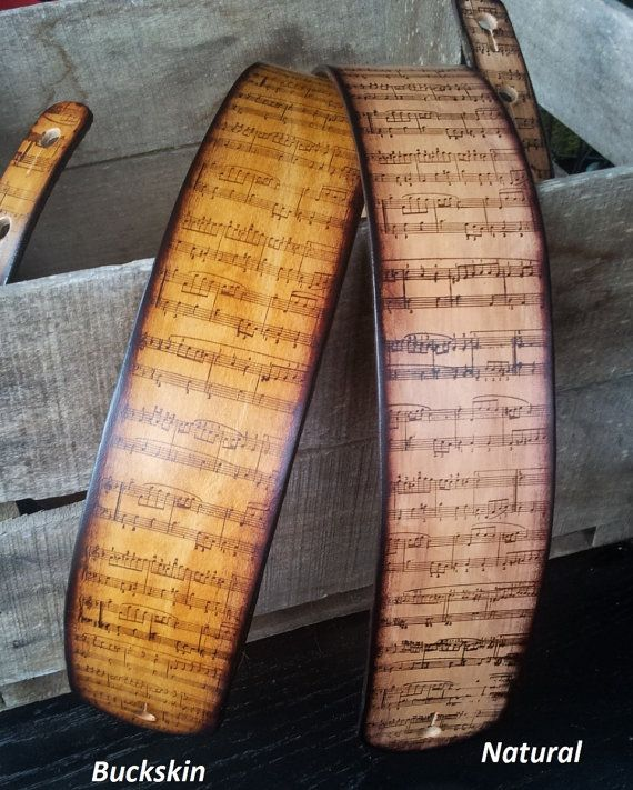 Valentines gift for the music lover Leather guitar strap with aged antique music notes personalized free...$79.55 MXS
