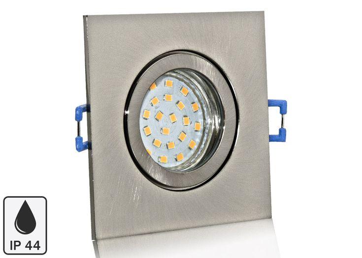 Feuchtraum LED Einbaustrahler Set IP44 Aluminium eisengebürstet eckig mit Marken GU10 LED Spot Nextec 4 Watt Klarglas
